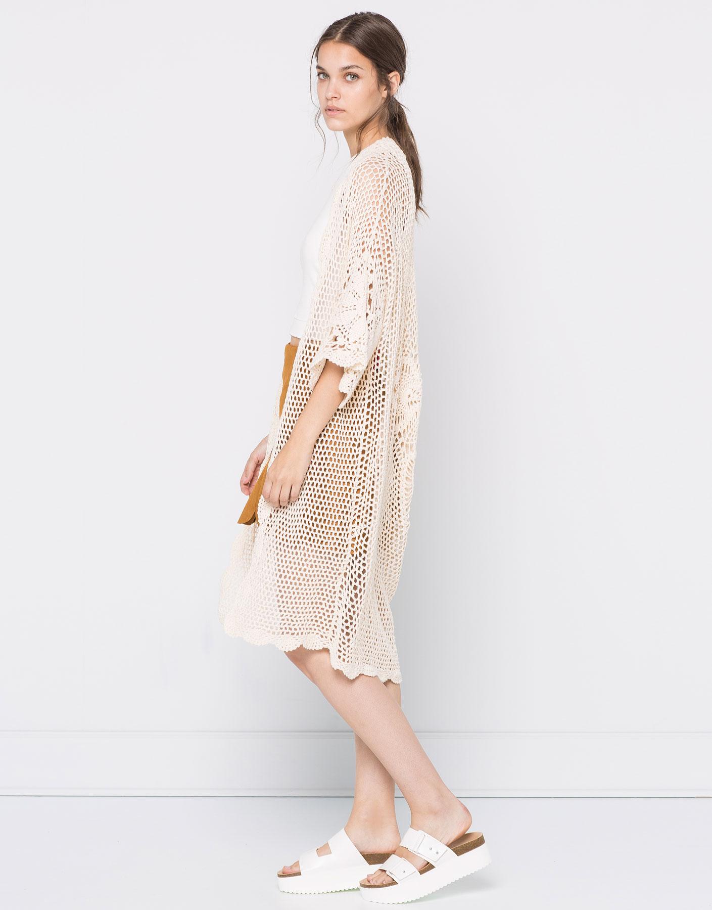 Long crochet kimono