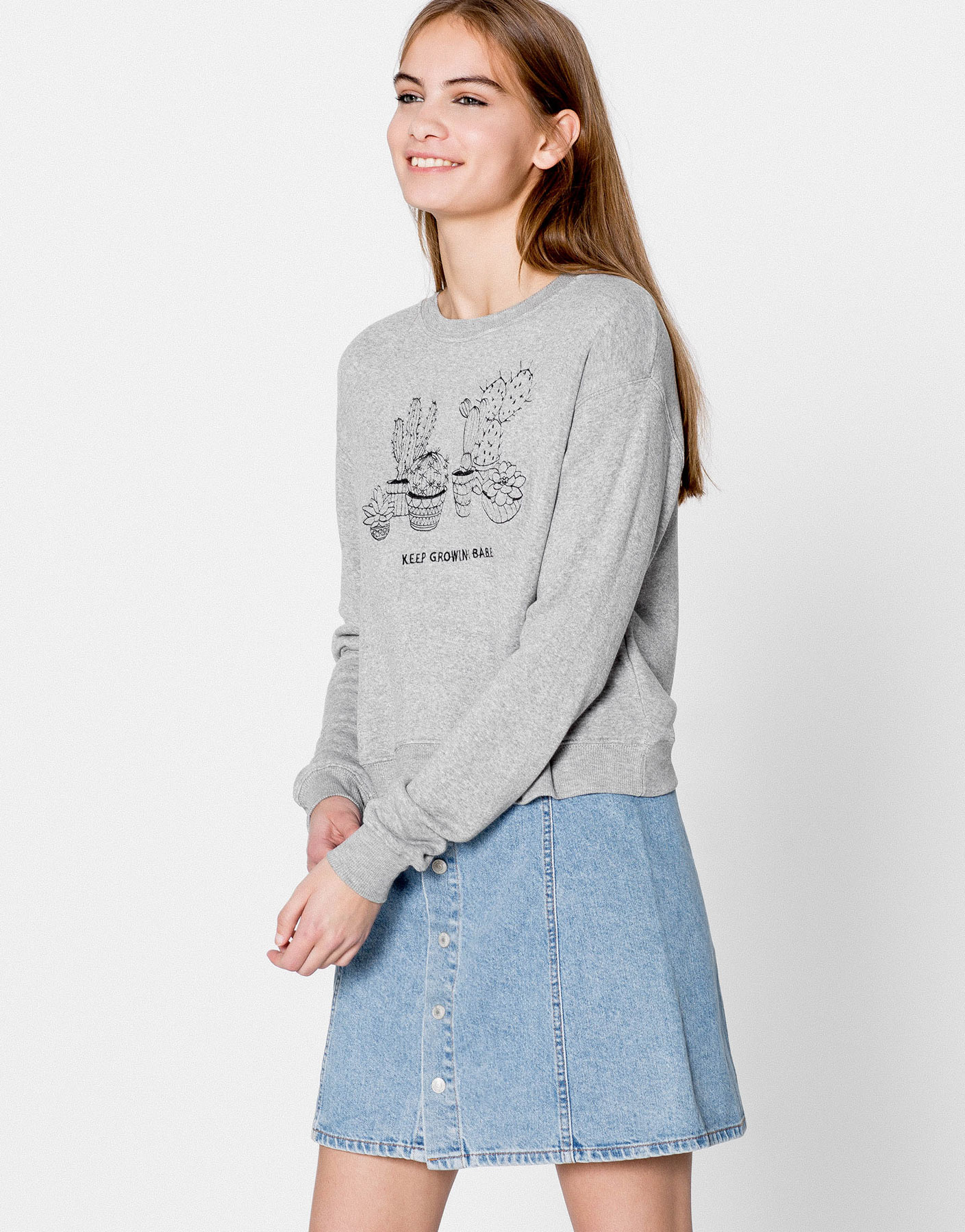 Embroidered cactus teen sweatshirt
