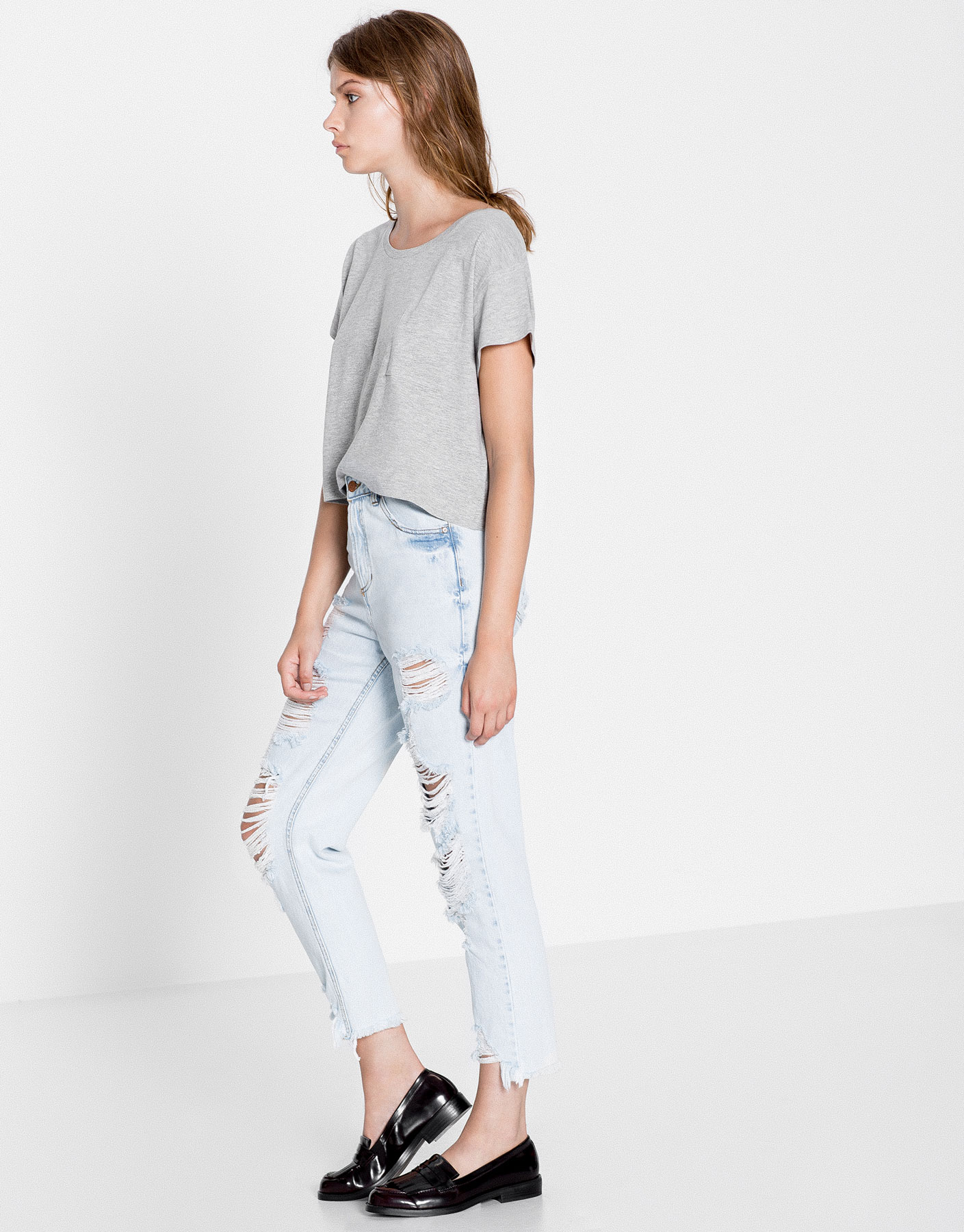 Jeans mom fit tir llarg