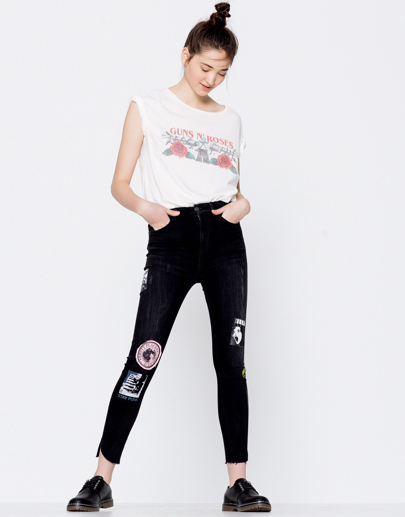 Skinny fit patches jeans