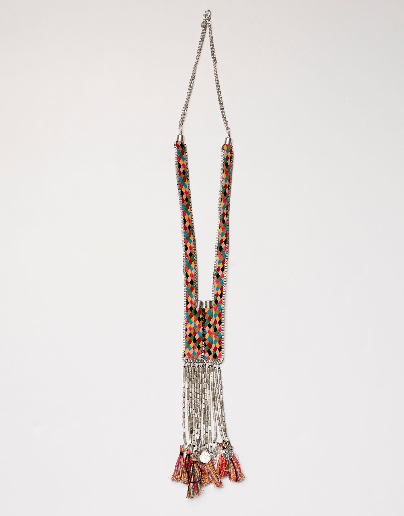 Multicoloured braided necklace