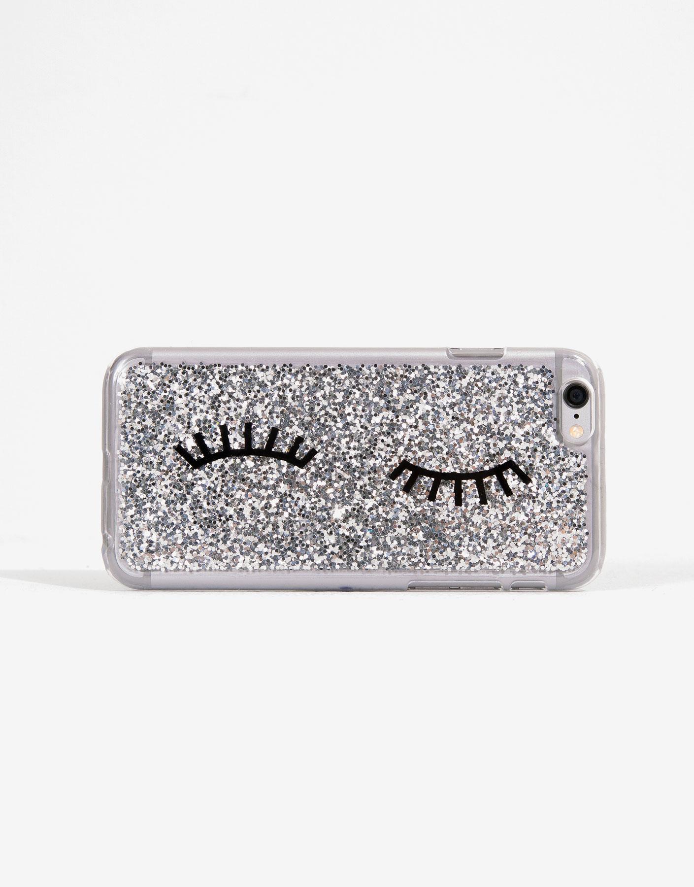 Silver glitter smartphone case