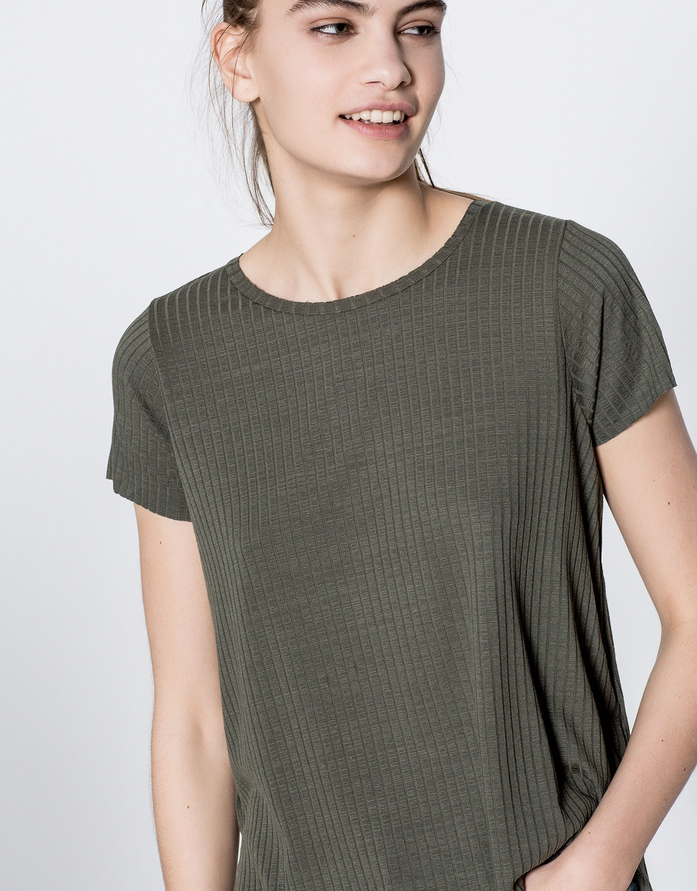 Short-sleeve printed ribbed t-shirt