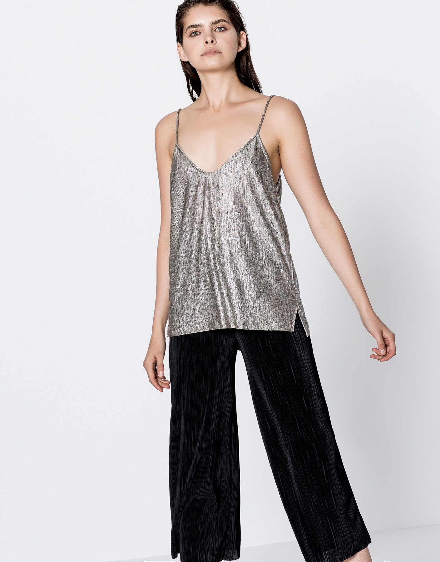 Metallic shimmer strappy top