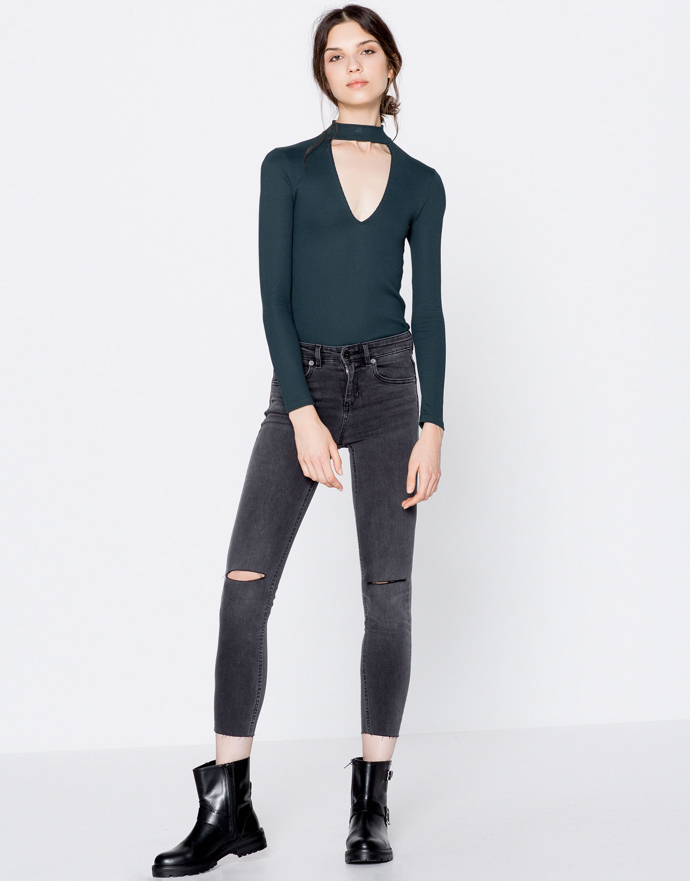 High collar top with cut-out V-neck