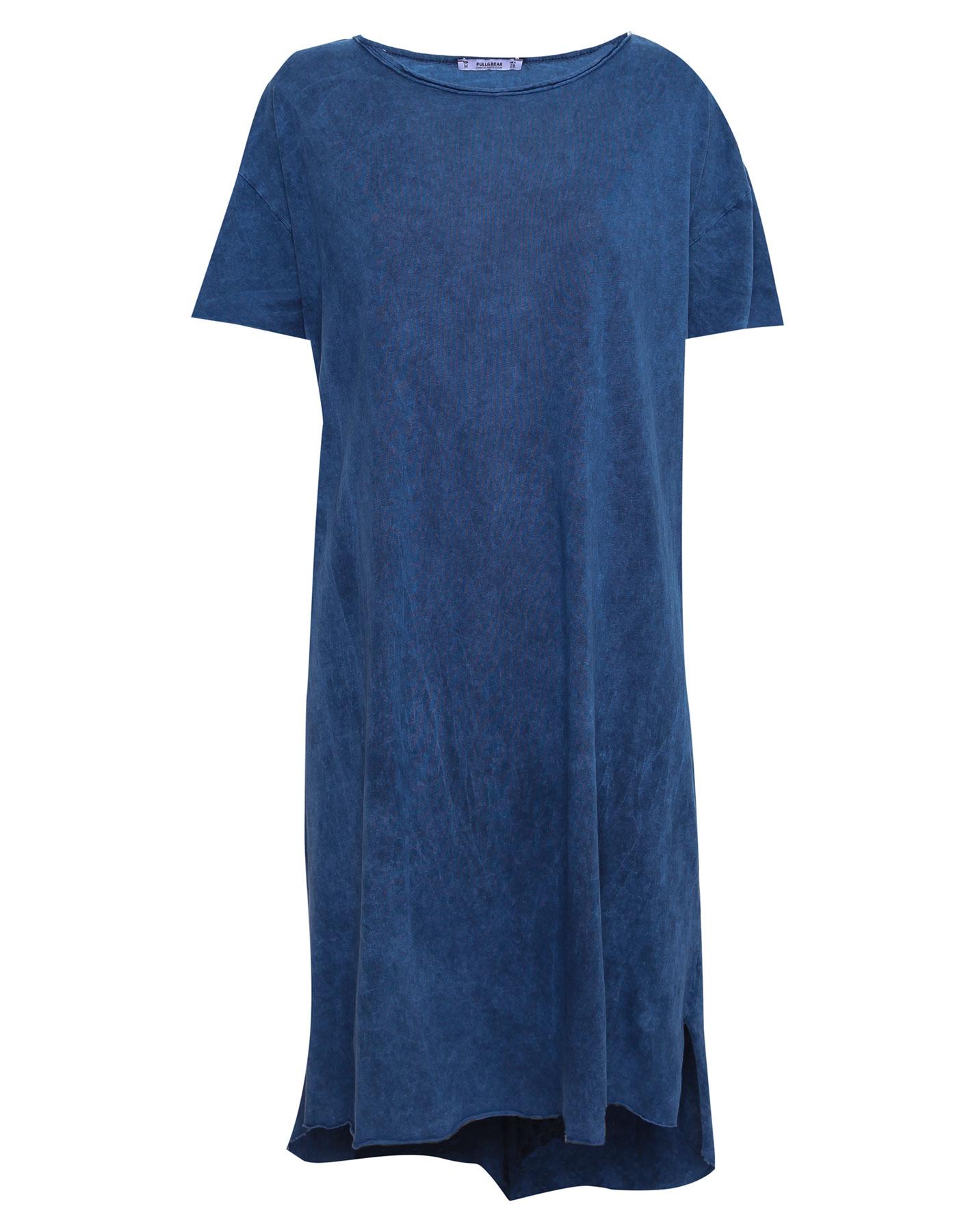 Sukienka midi z krótkim rękawem i spranym efektem Pull & Bear INDYGO
