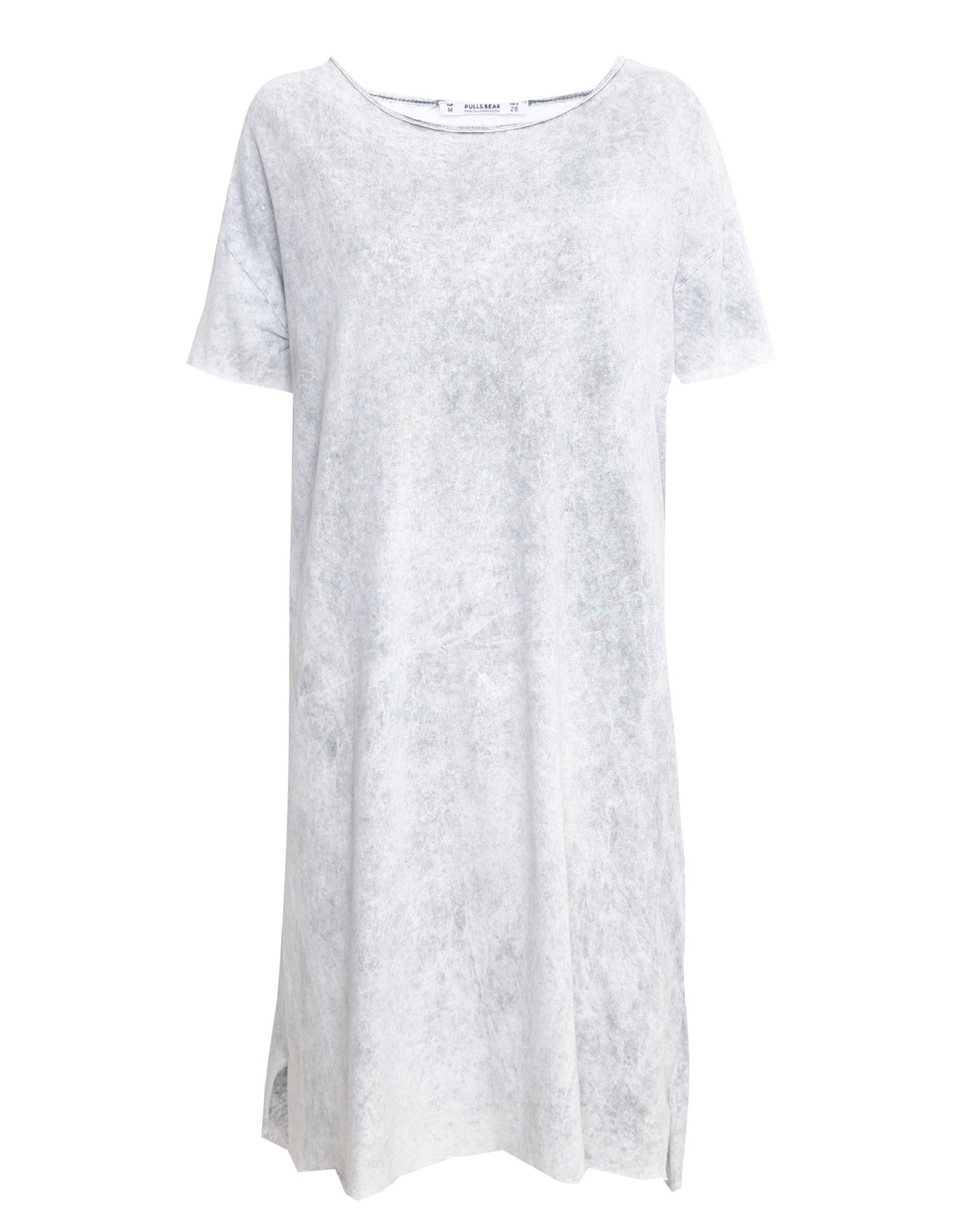Sukienka midi z krótkim rękawem i spranym efektem Pull & Bear SZARY