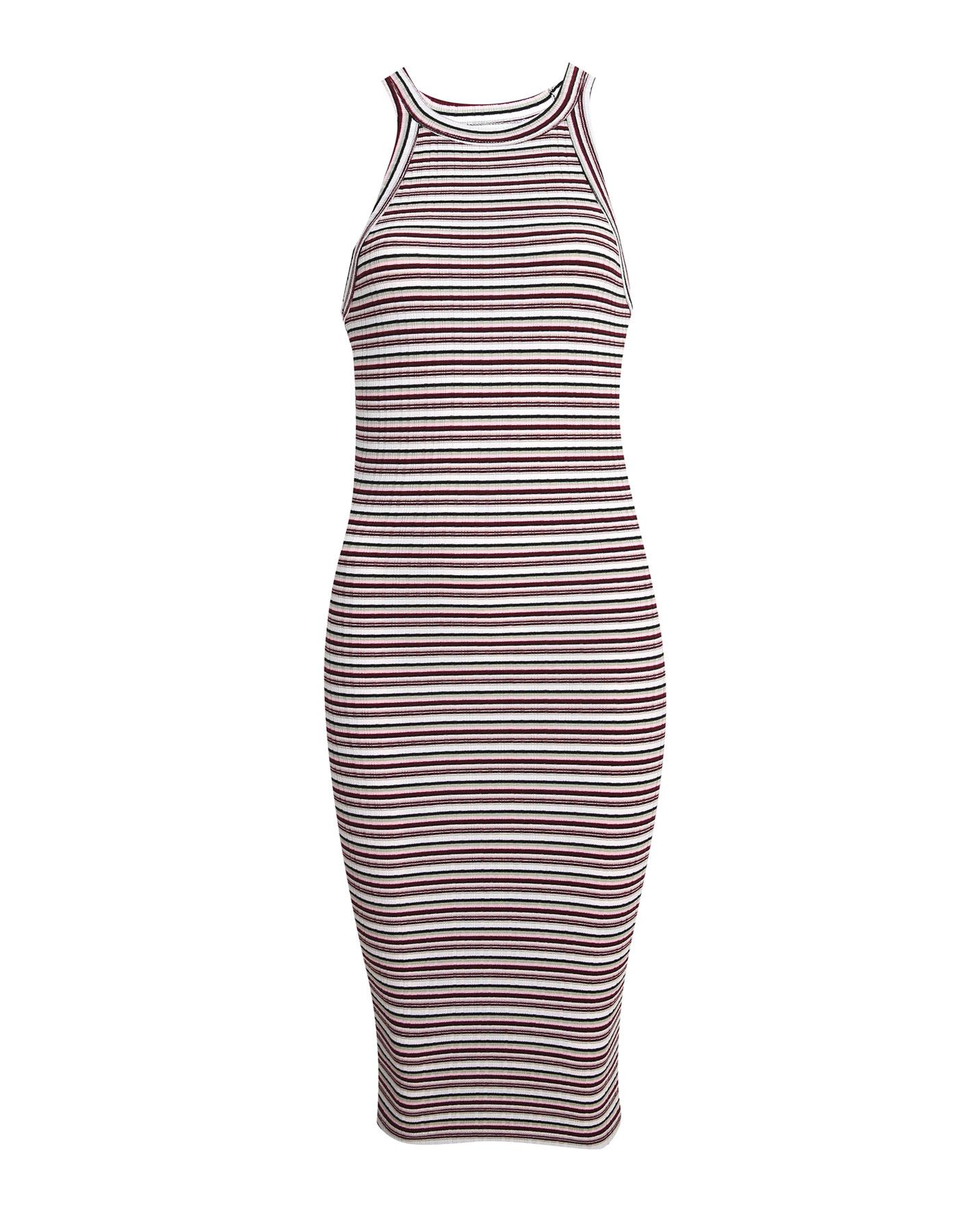 Sukienka w paski z prążkowanej tkaniny Pull & Bear LODOWY