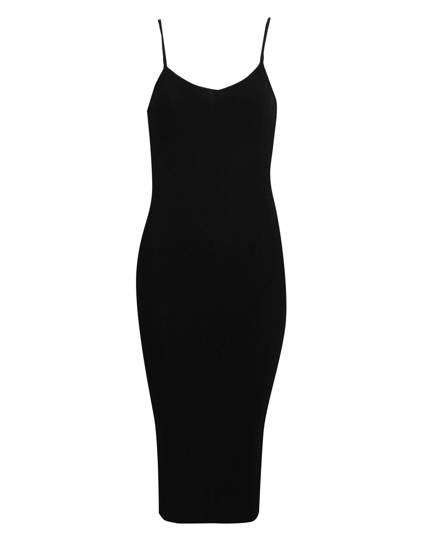 Gładka sukienka na cienkich ramiączkach Pull & Bear CZARNY