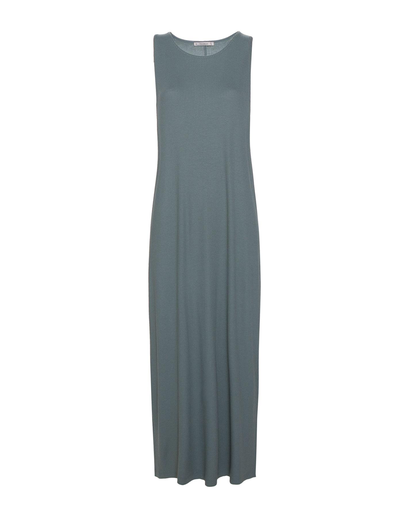 Prążkowana sukienka bez rękawów Pull & Bear ZIELONO-NIEBIESKI