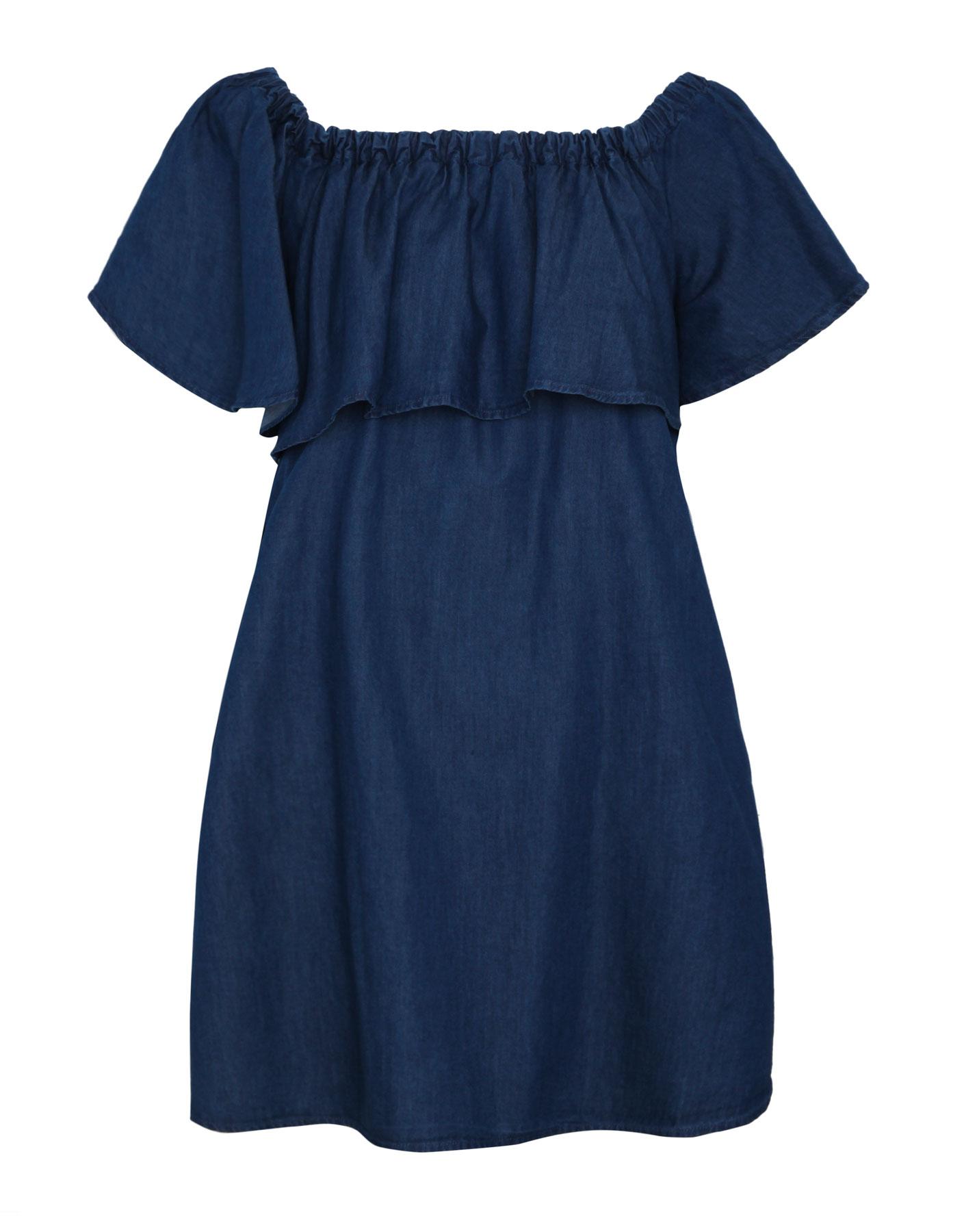 Denimowa sukienka z falbaną Pull & Bear NIEBIESKI