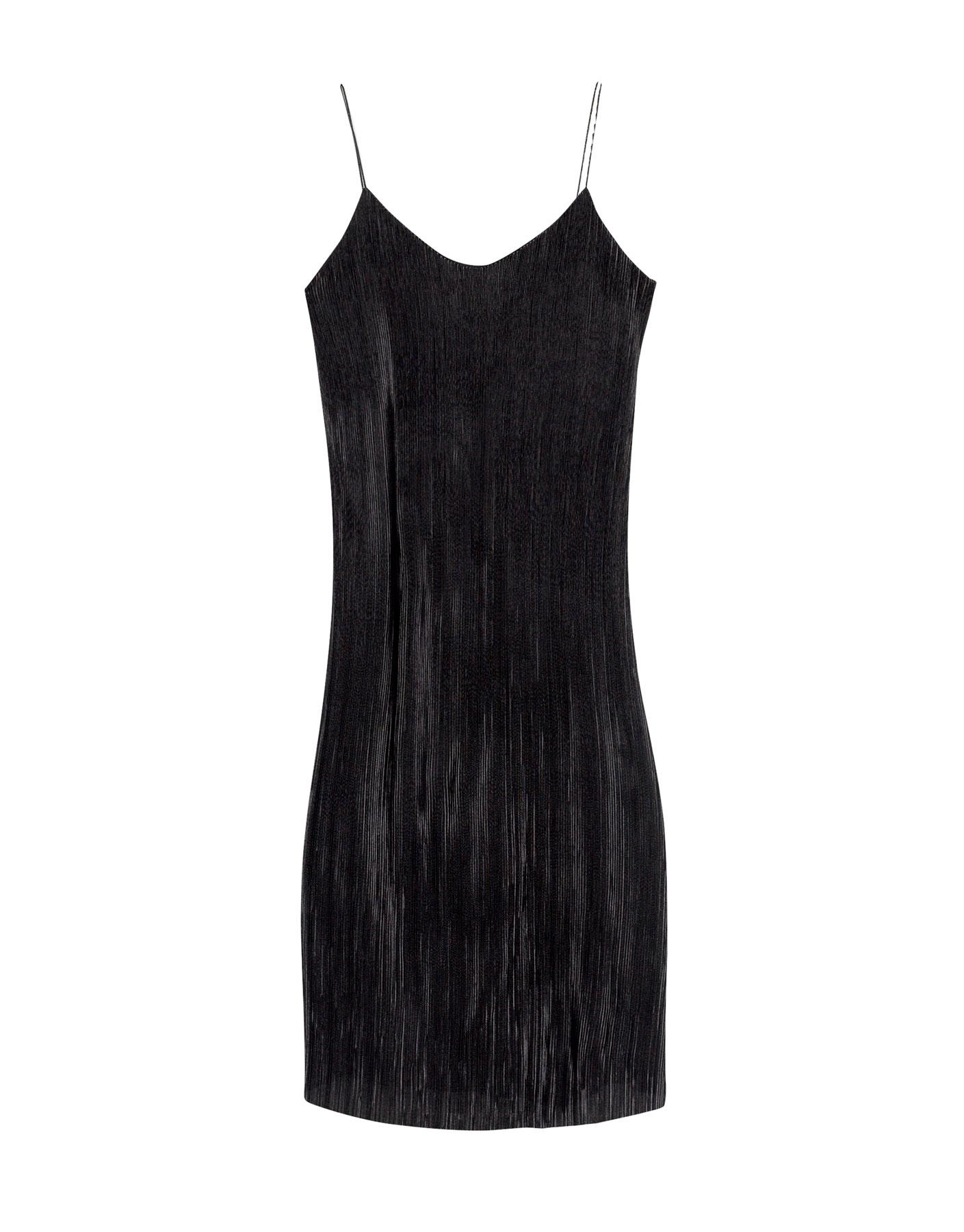 Sukienka midi z plisami Pull & Bear CZARNY