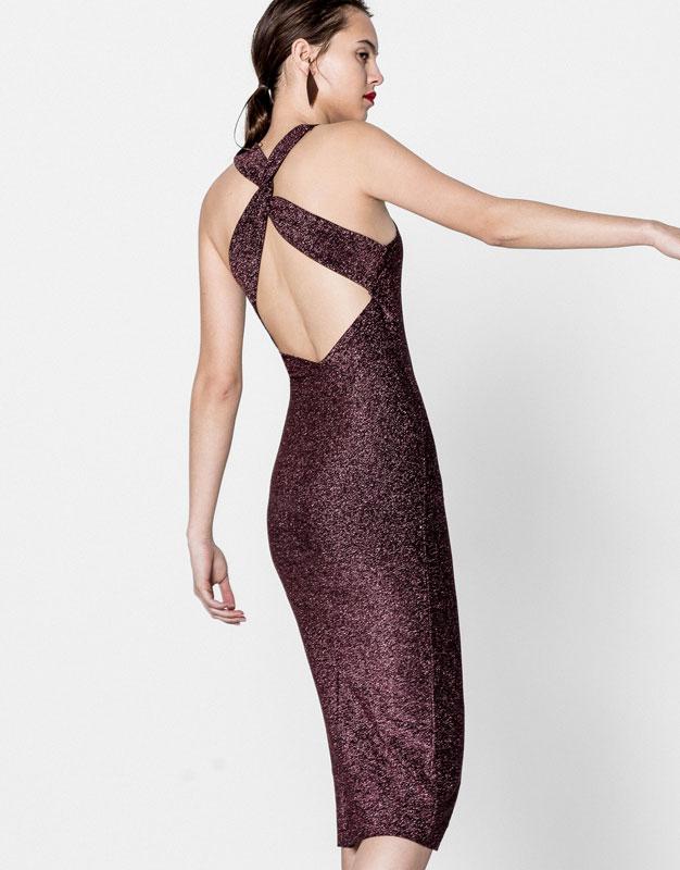 Pull&Bear - mujer - ropa - vestidos - vestido brillo nudo espalda - rosa - 09394371-I2016