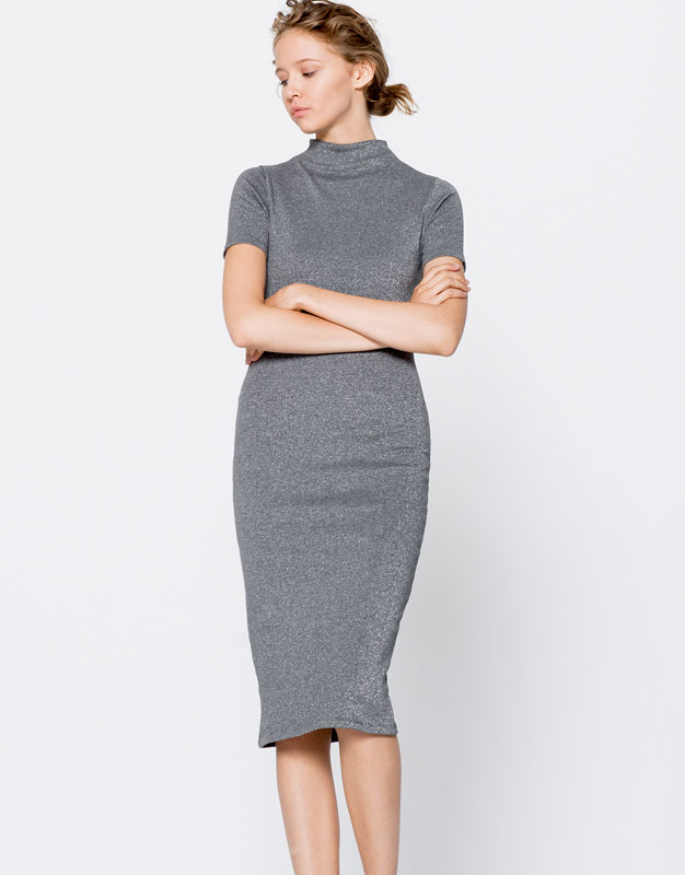 Pull&Bear - mujer - ropa - vestidos - vestido midi cuello perkins - gris vigore - 09394376-I2016