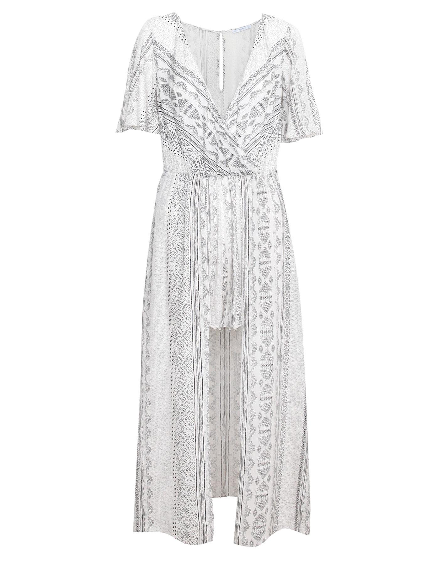 Długa wzorzysta sukienka Pull & Bear LODOWY