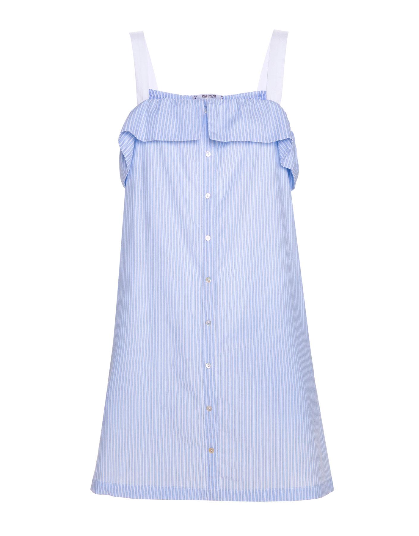 Sukienka z falbaną Pull & Bear BŁĘKITNY