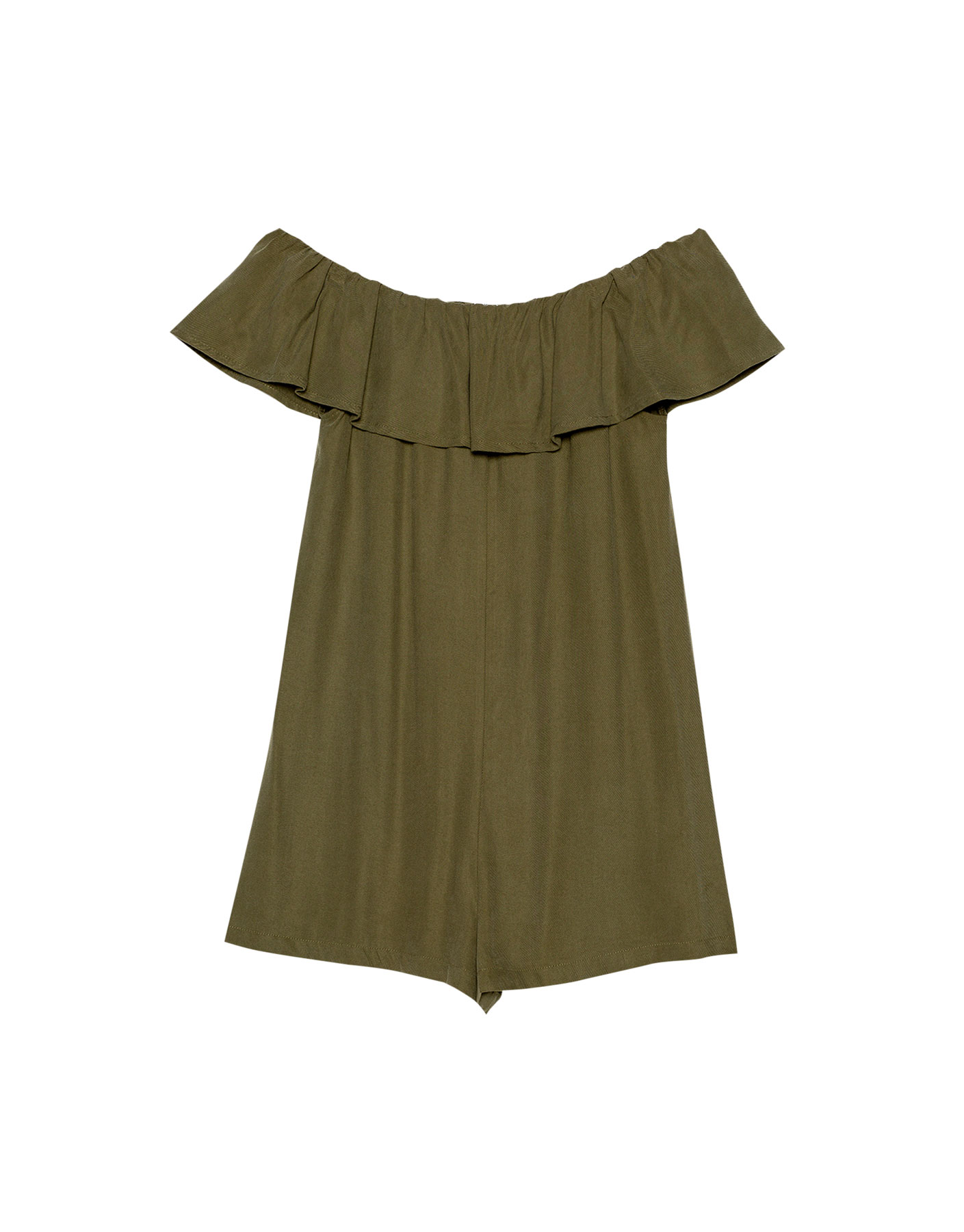 Sukienka kombinezon z falbaną Pull & Bear KHAKI