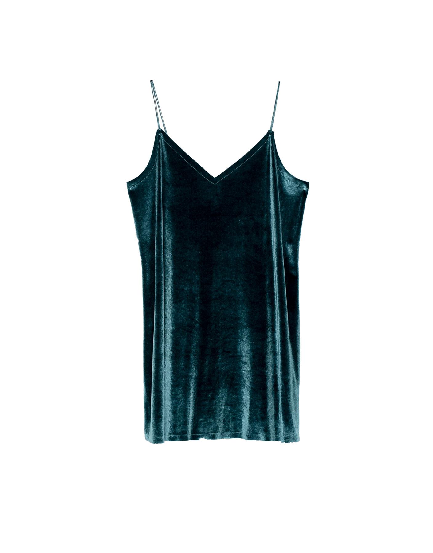 Aksamitna sukienka na cienkich ramiączkach Pull & Bear ZIEL (KACZKI)