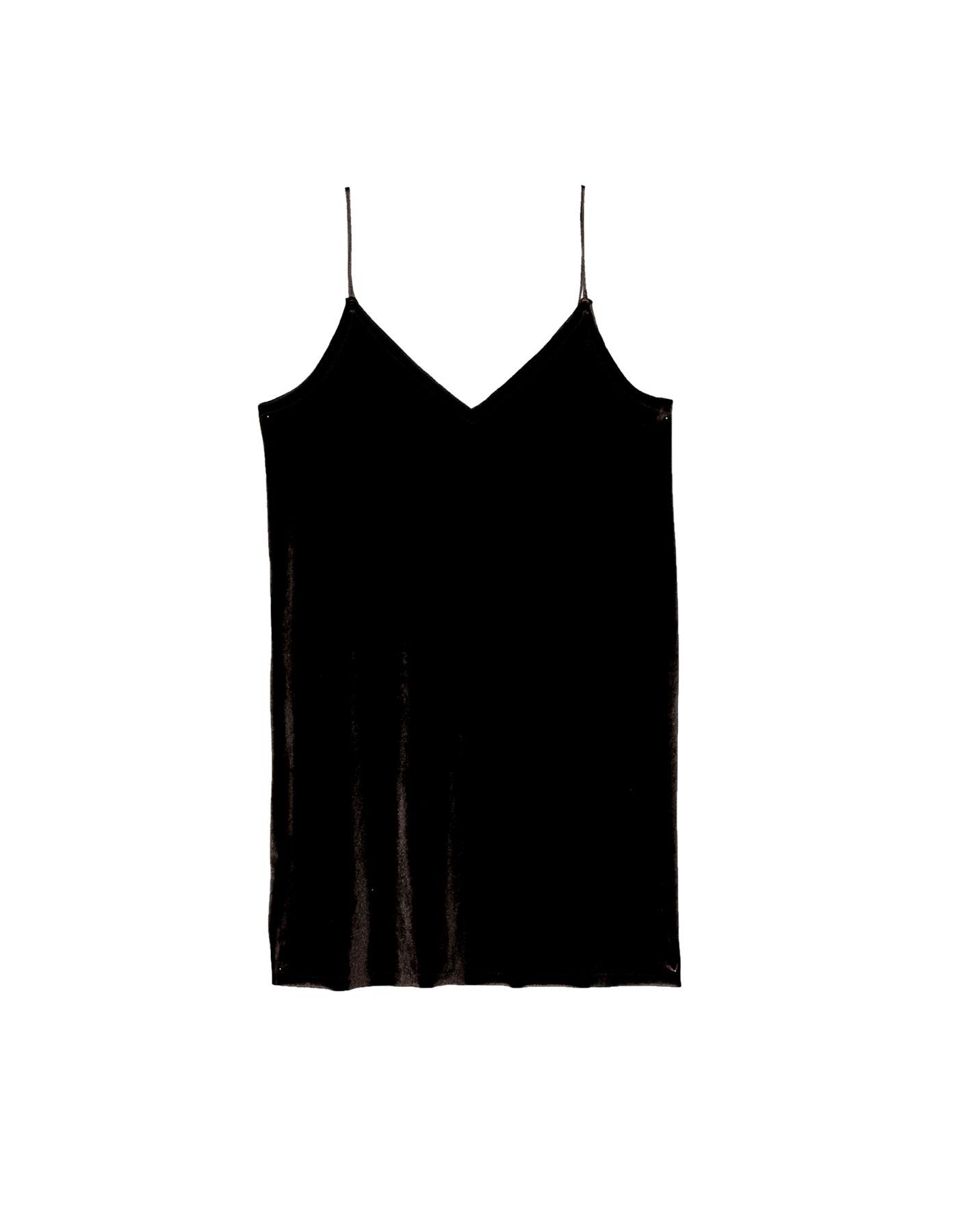 Aksamitna sukienka na cienkich ramiączkach Pull & Bear CIEMNOBRĄZOWY