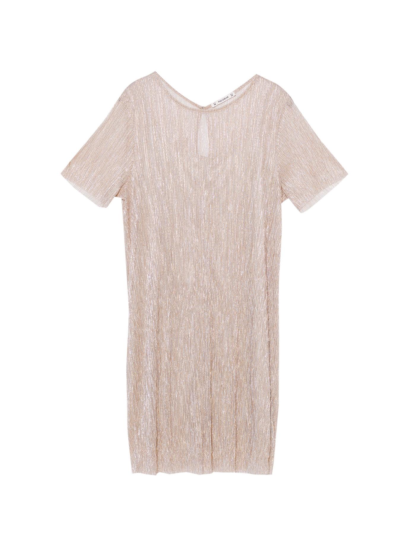 Metalizowana sukienka z krótkim rękawem Pull & Bear ZŁOTO