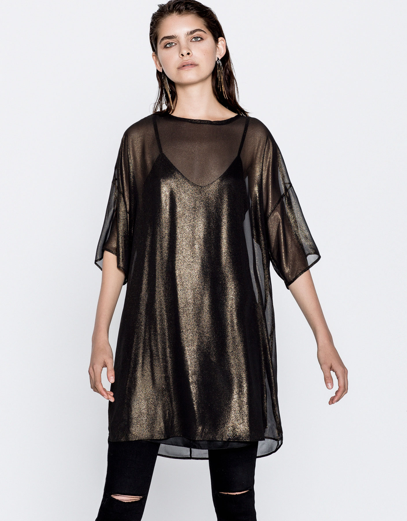 Short-sleeve metallic dress