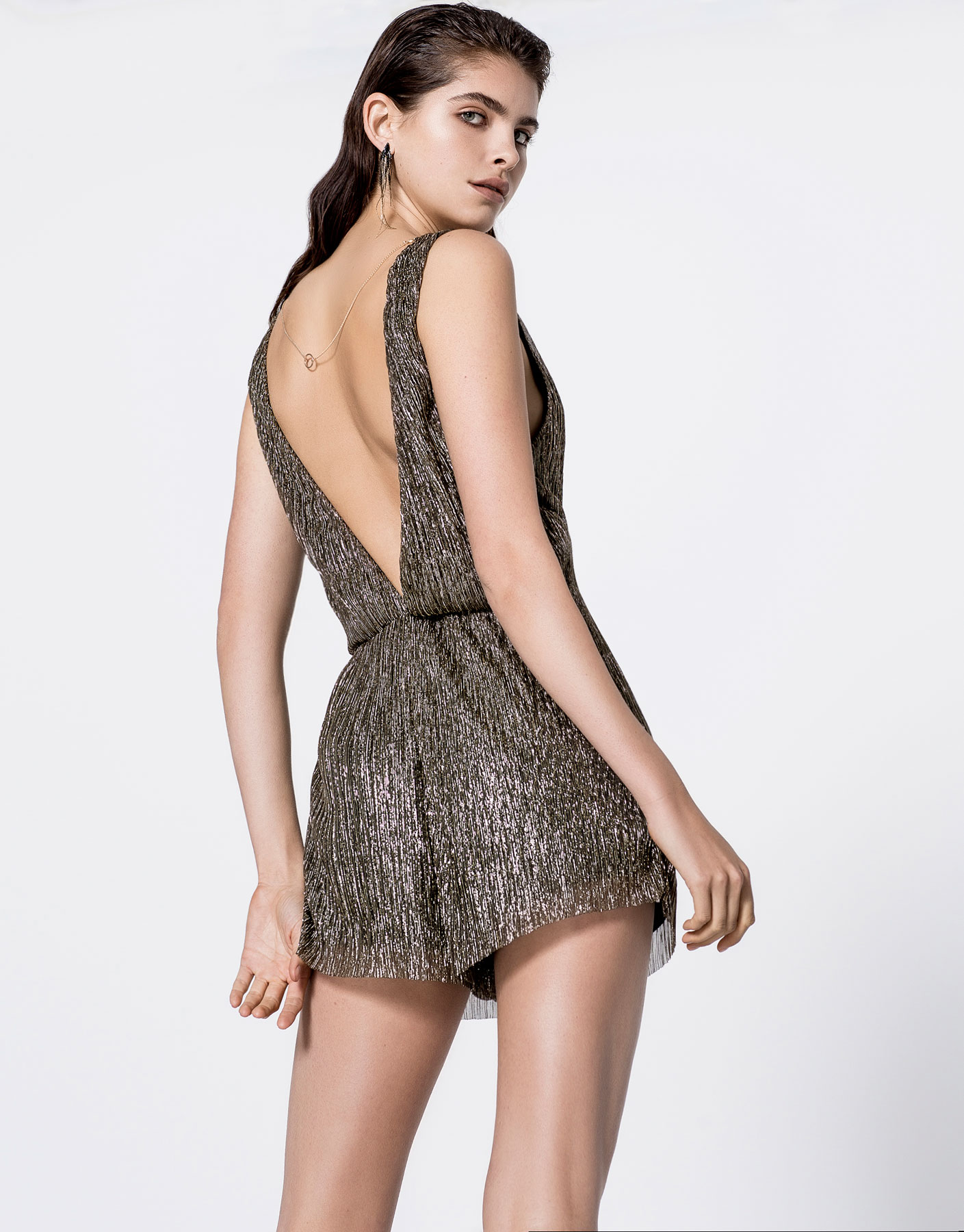 Short shiny jumpsuit dress
