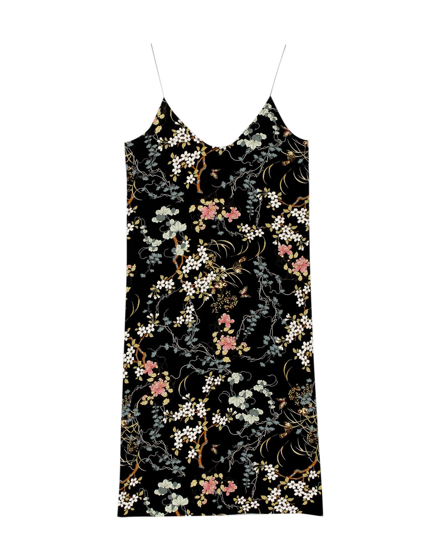 Sukienka midi z orientalnym nadrukiem Pull & Bear CZARNY