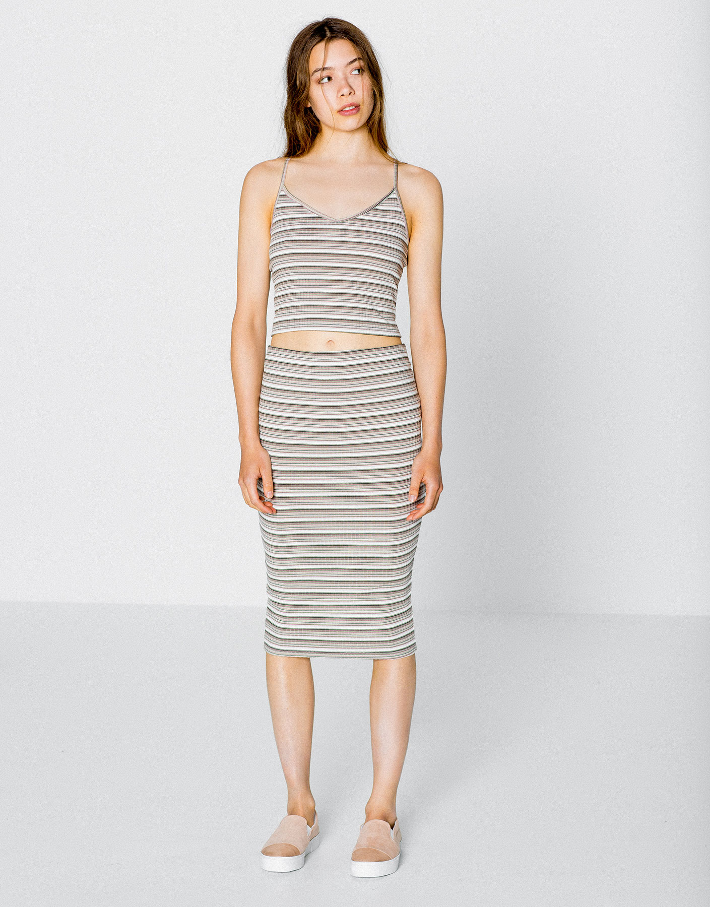Nude striped ribbed midi skirt
