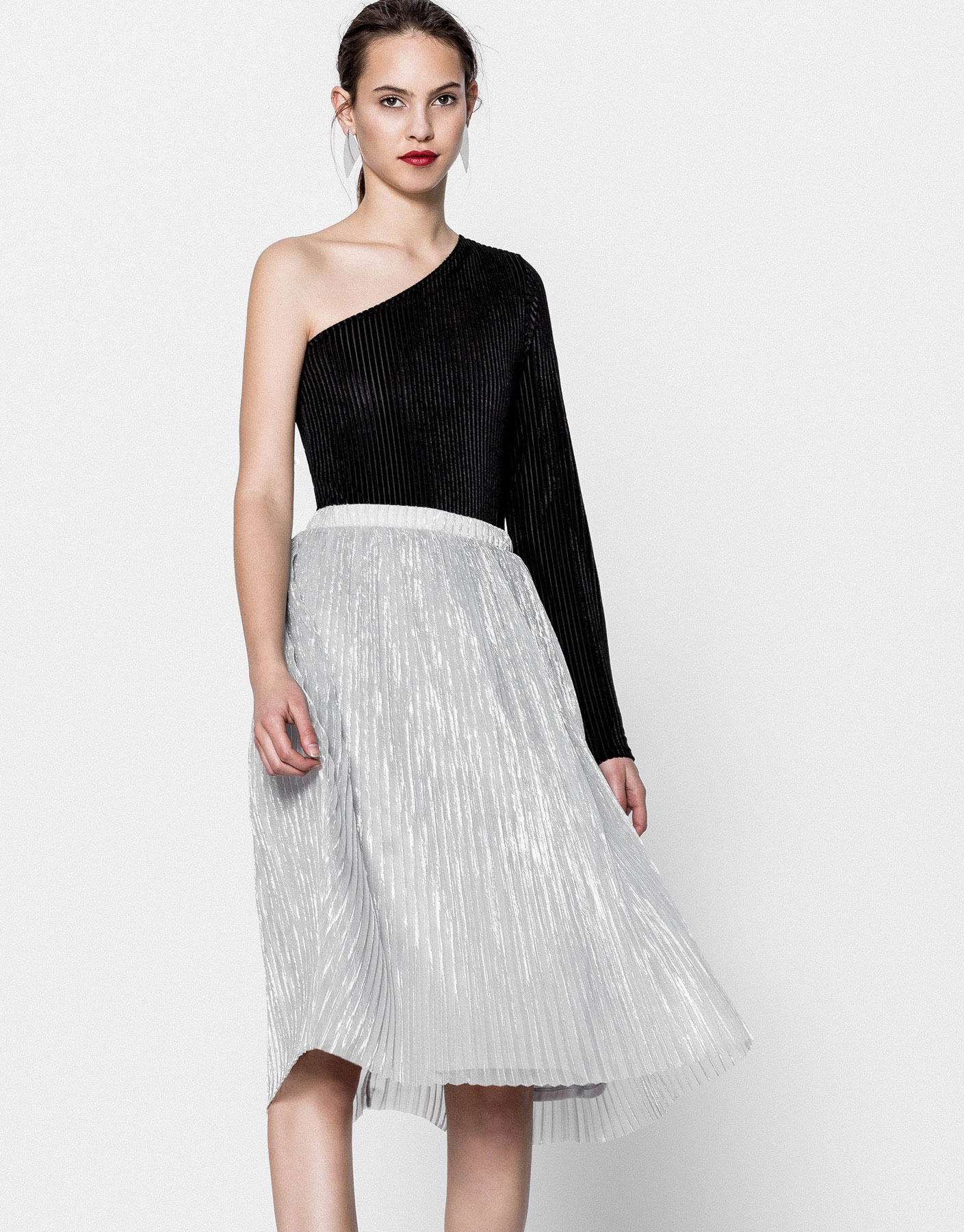 Finely pleated shiny tulle skirt