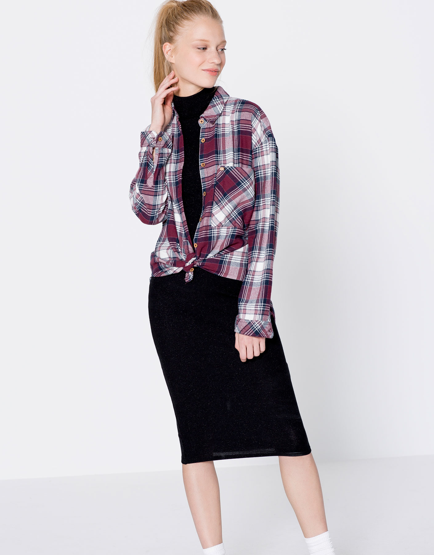 Long-sleeve faded checked shirt