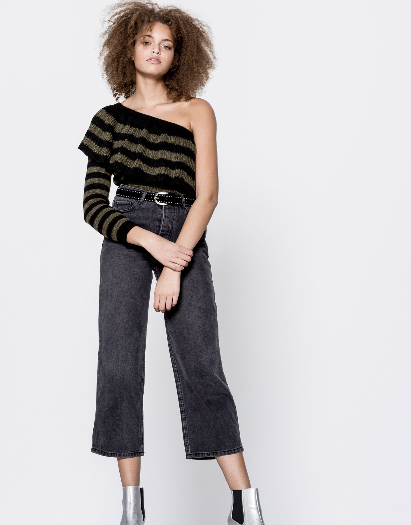 Asymmetric shoulder frill sweater