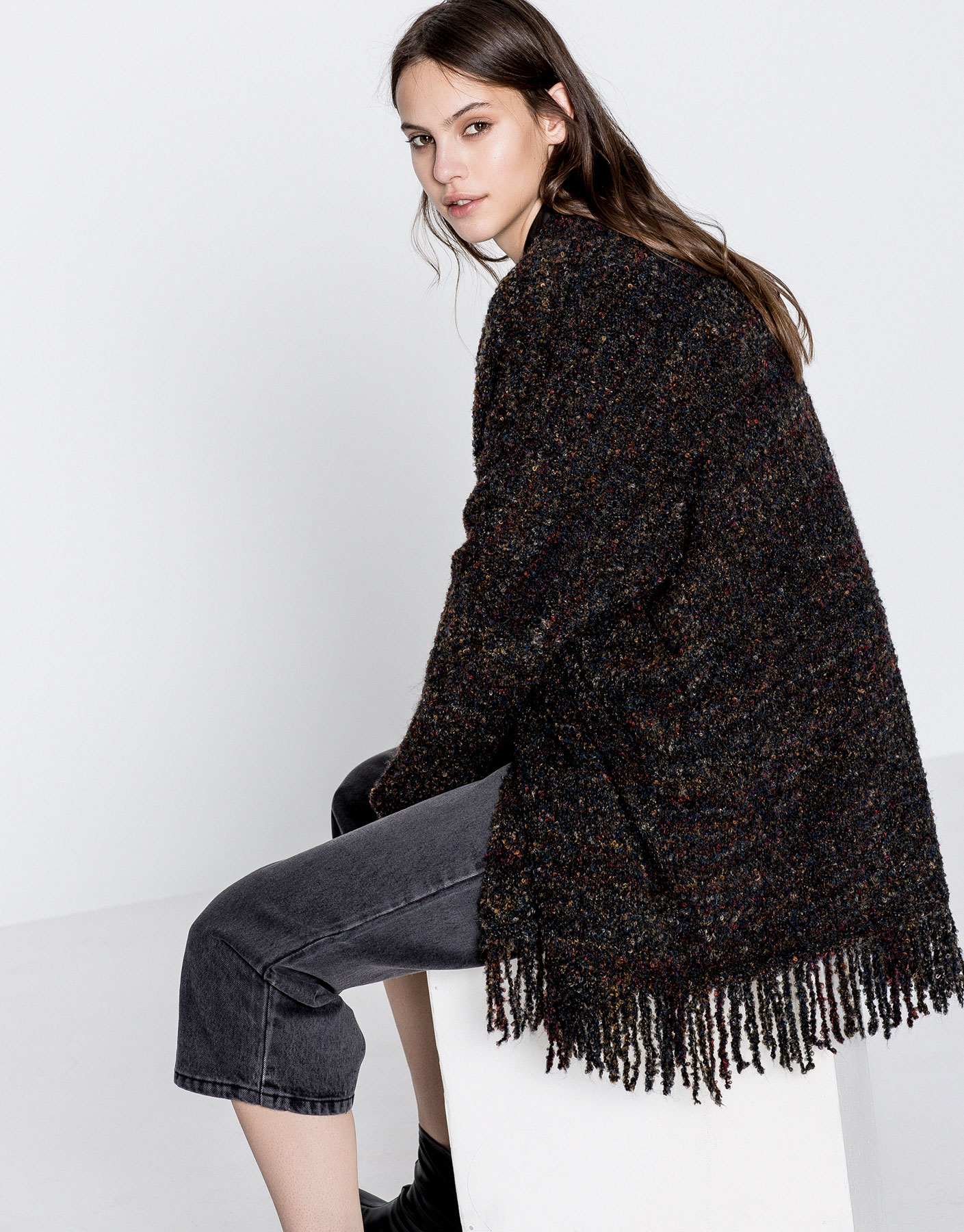 Bouclé cardigan with fringed hem