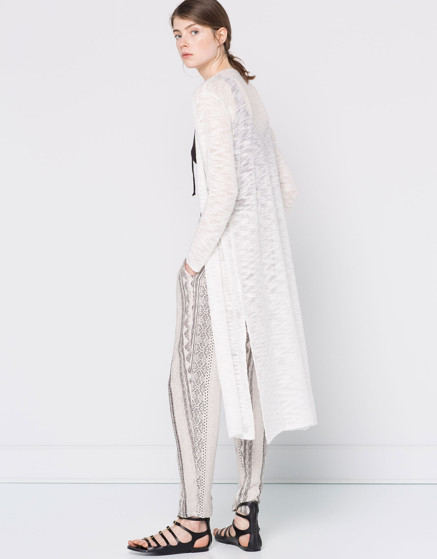 Long slub-knit cardigan