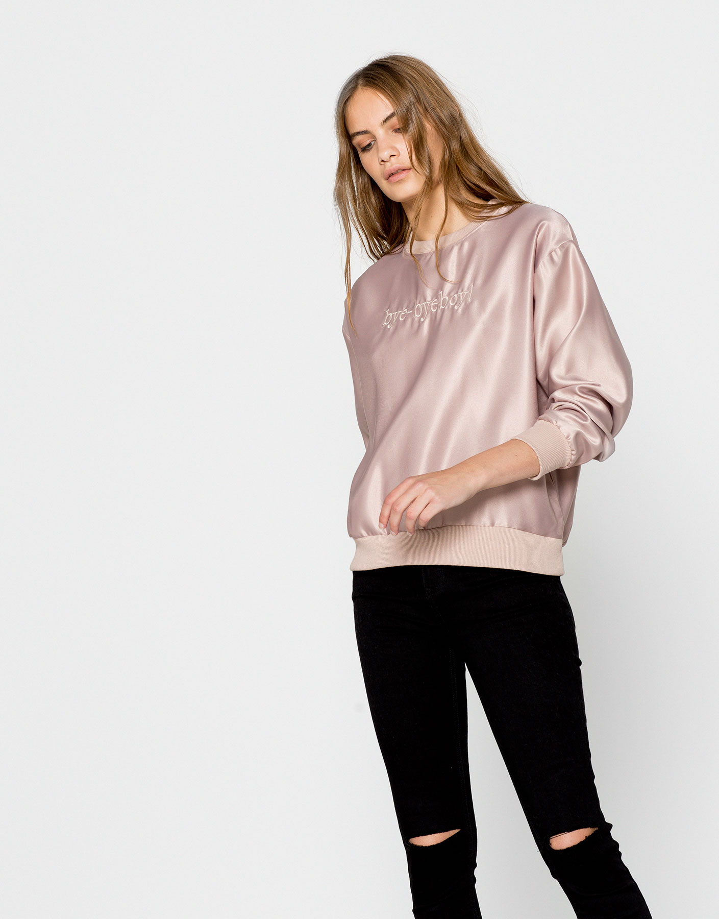 Silk satin sweatshirt