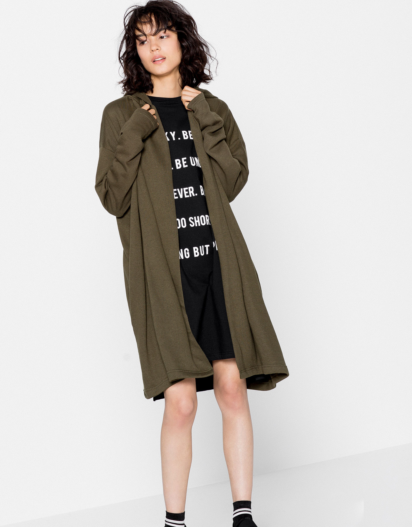 Plush long hooded jacket