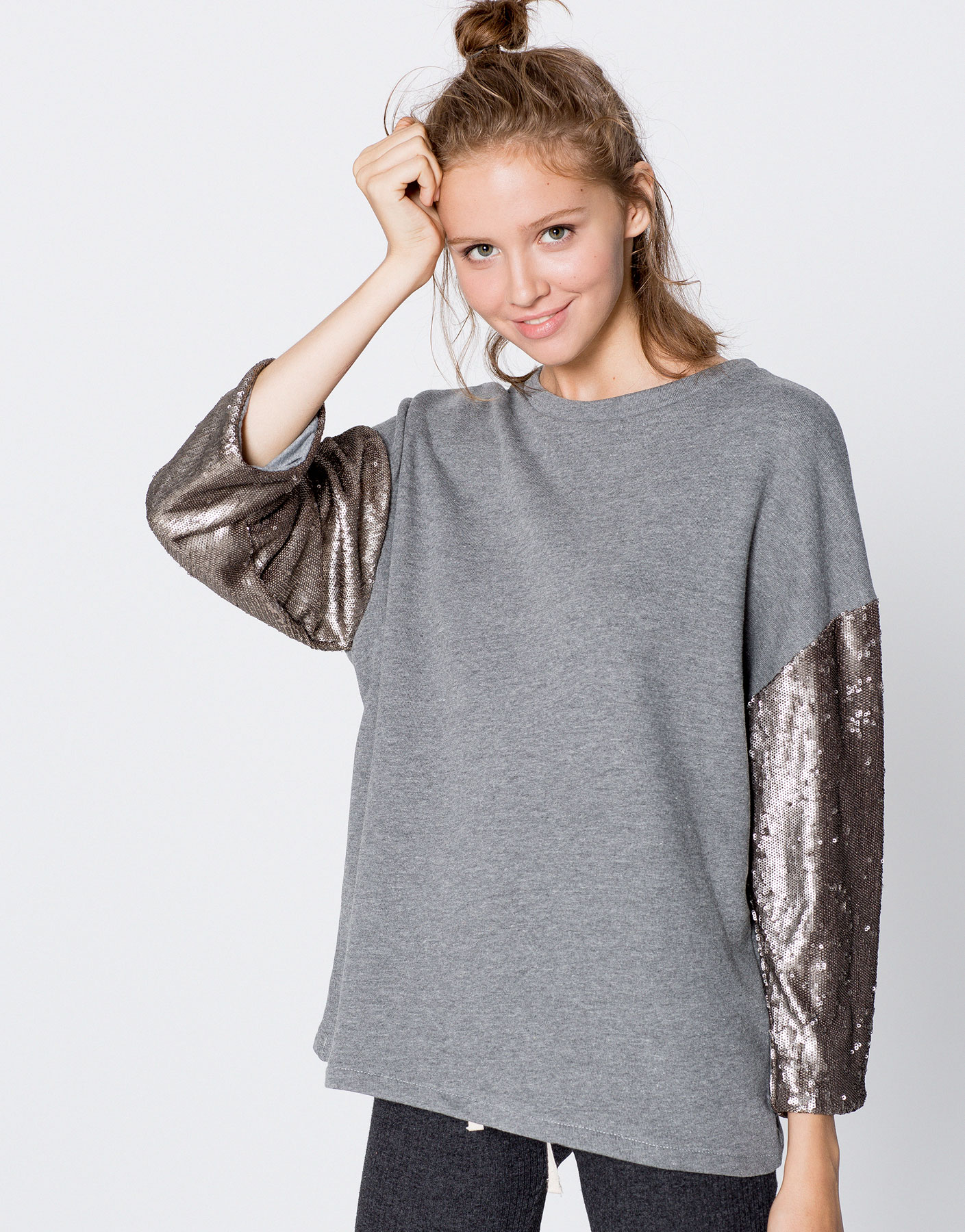 Sweatshirt with sequin sleeves