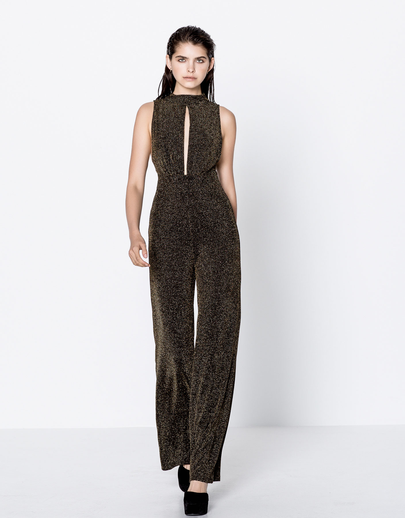 Shiny fabric long evening jumpsuit