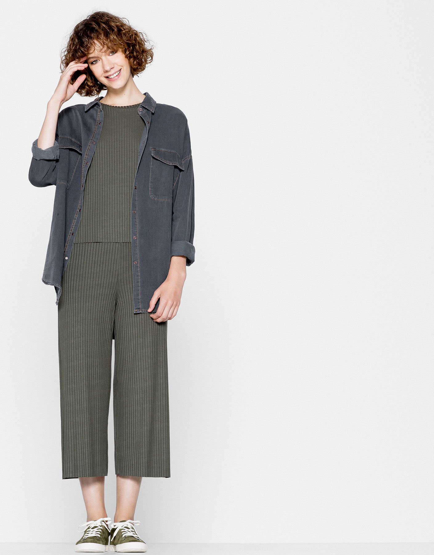 Culotte ribbed trousers
