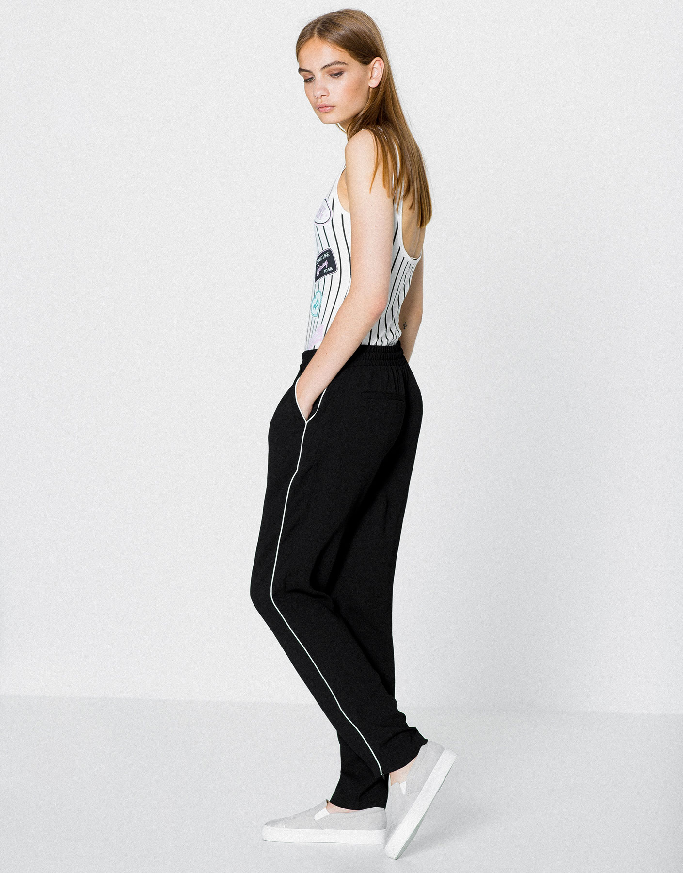 Piped stripe trousers
