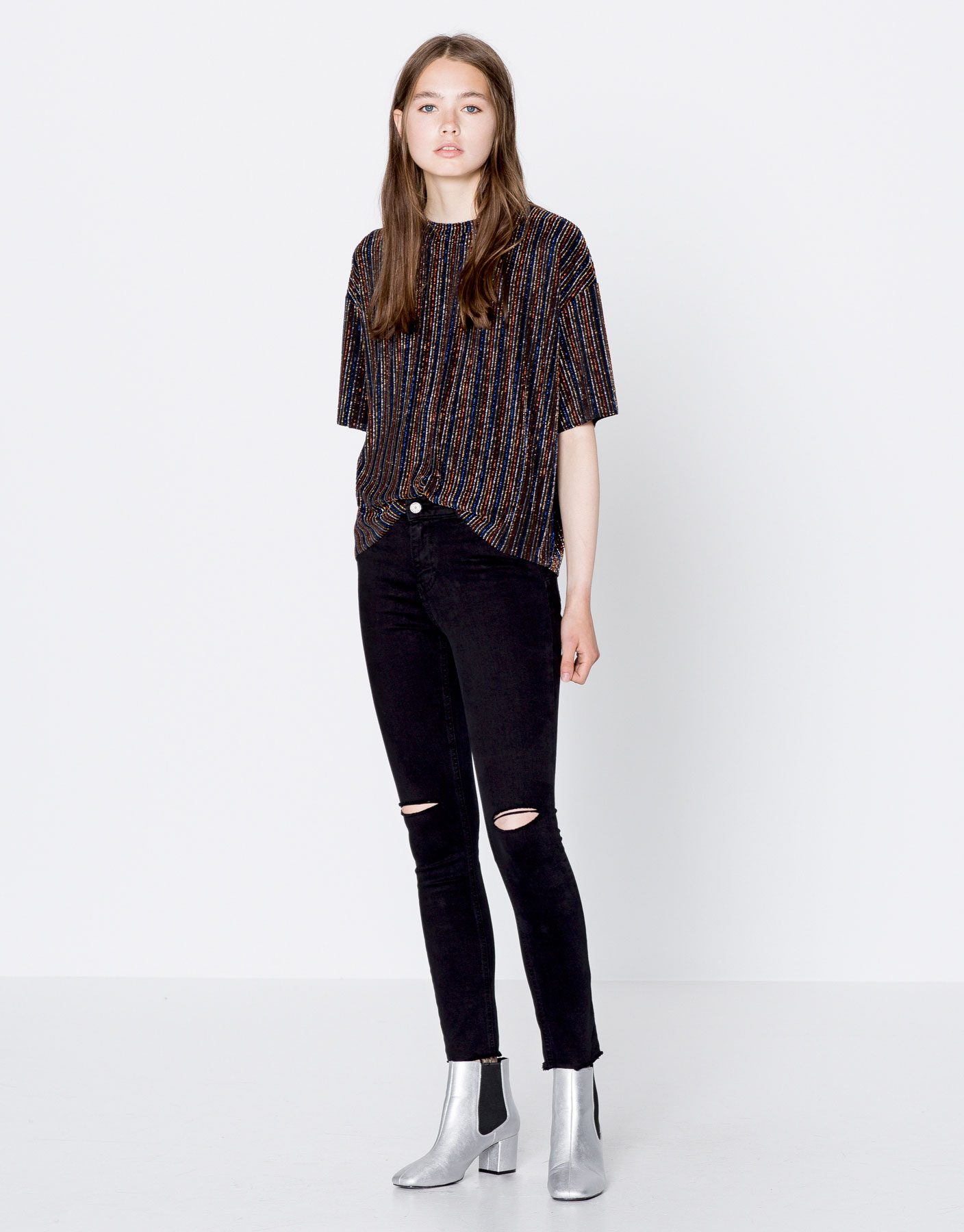 Skinny trousers with knee seam