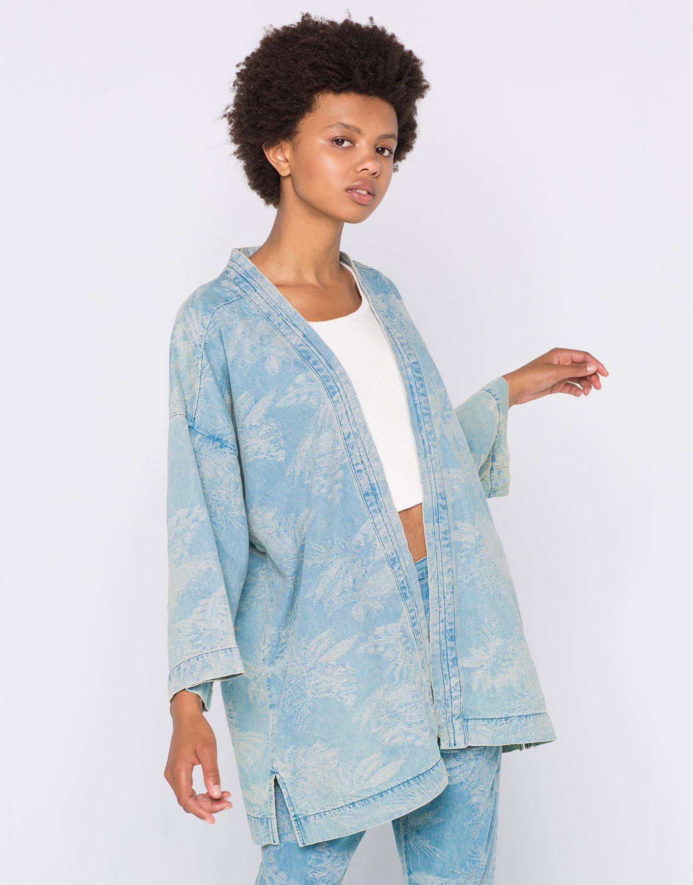 Denim printed kimono