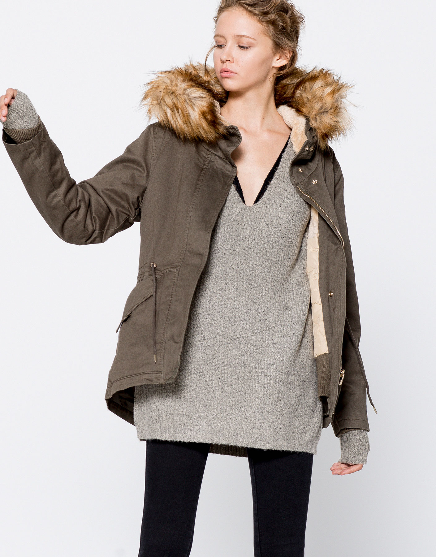 Cotton parka with faux fur hood