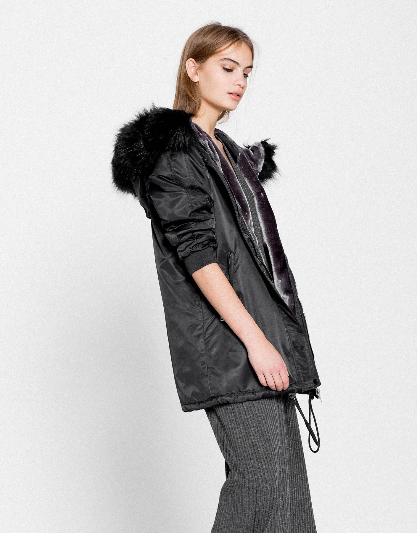 Nylon parka with faux fur hood