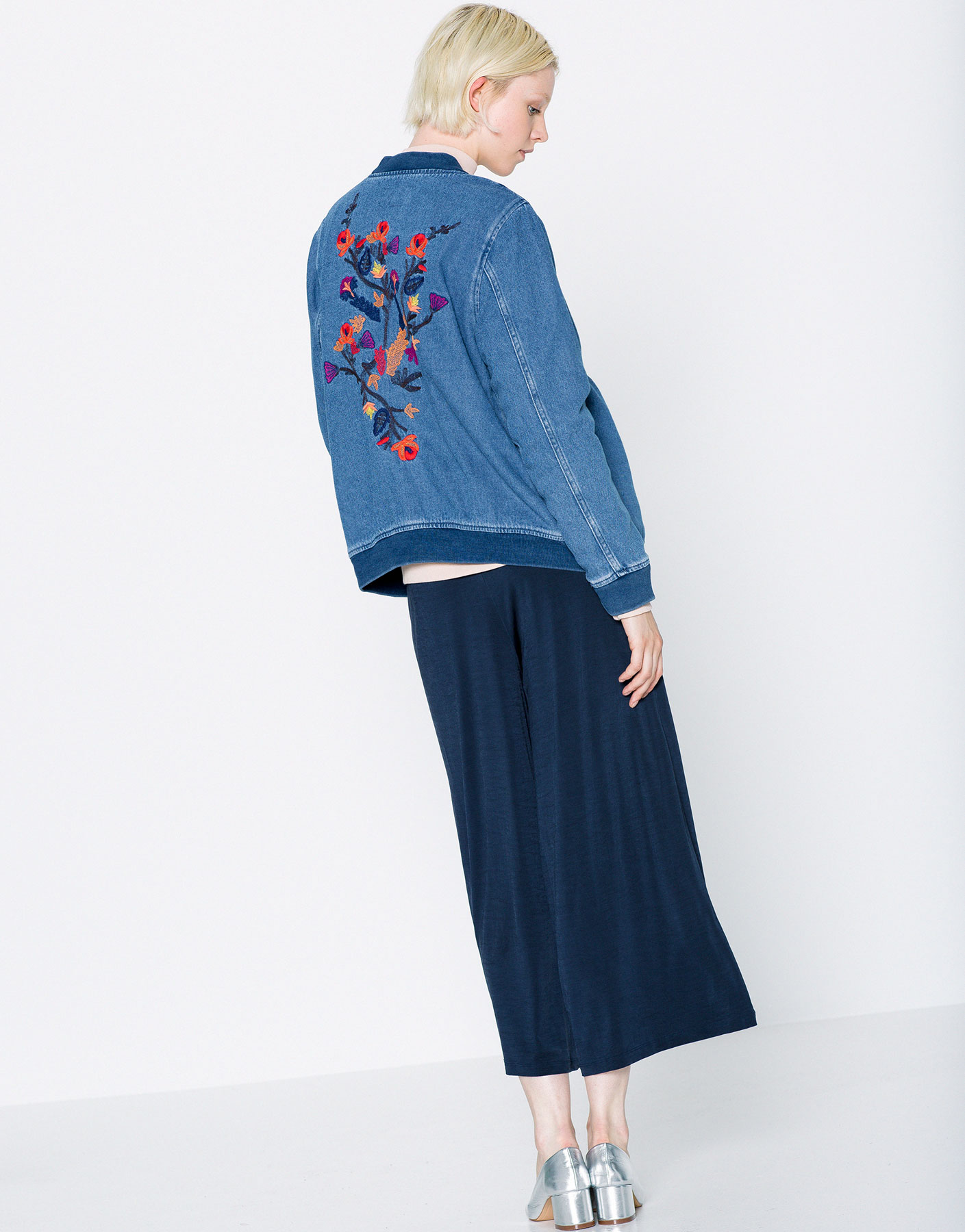 Denim bomber jacket with embroidery on back