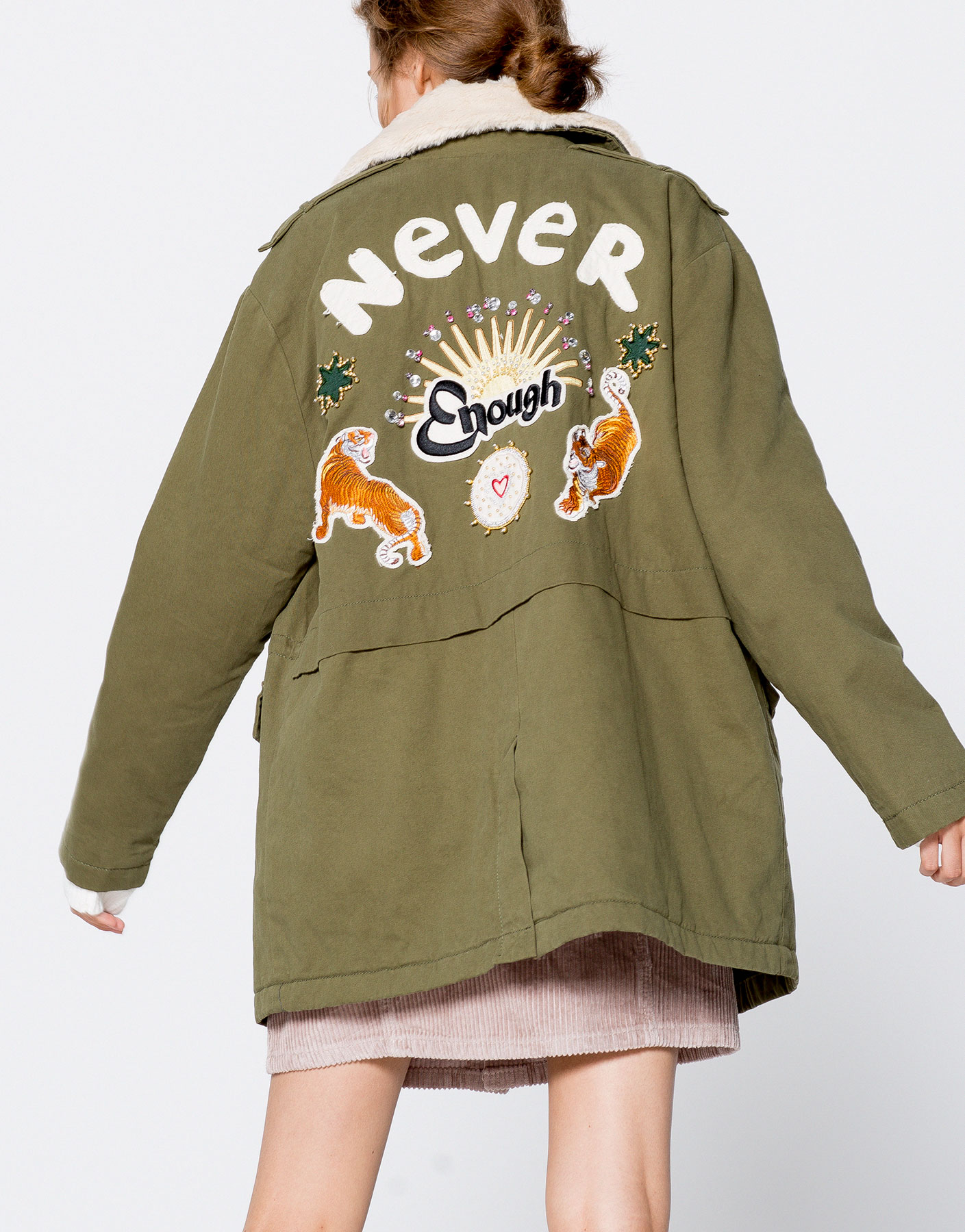 Safari coat with embroidered back