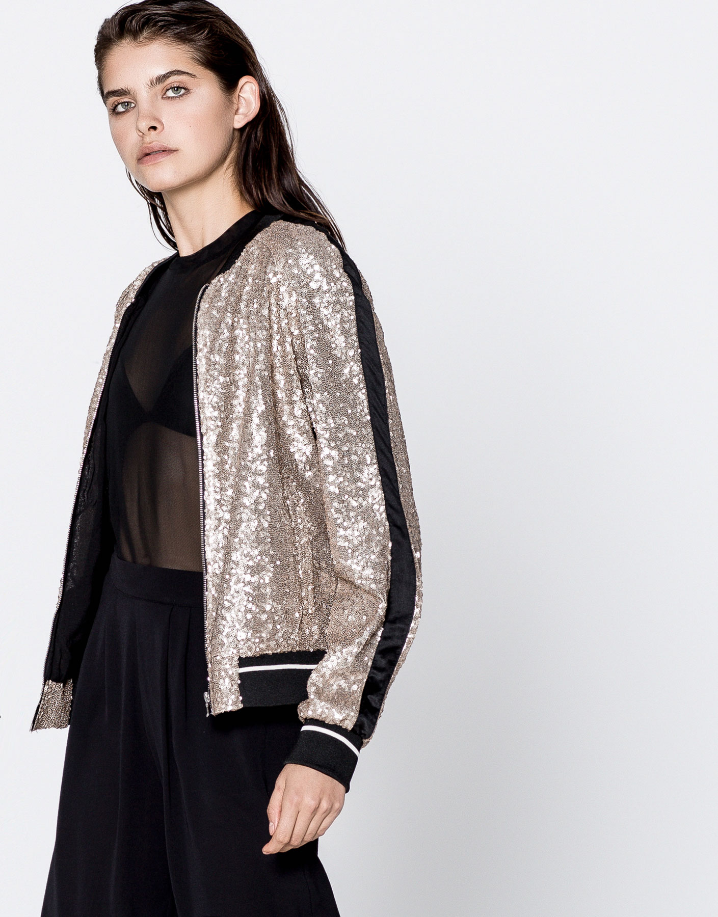 Sequinned bomber jacket