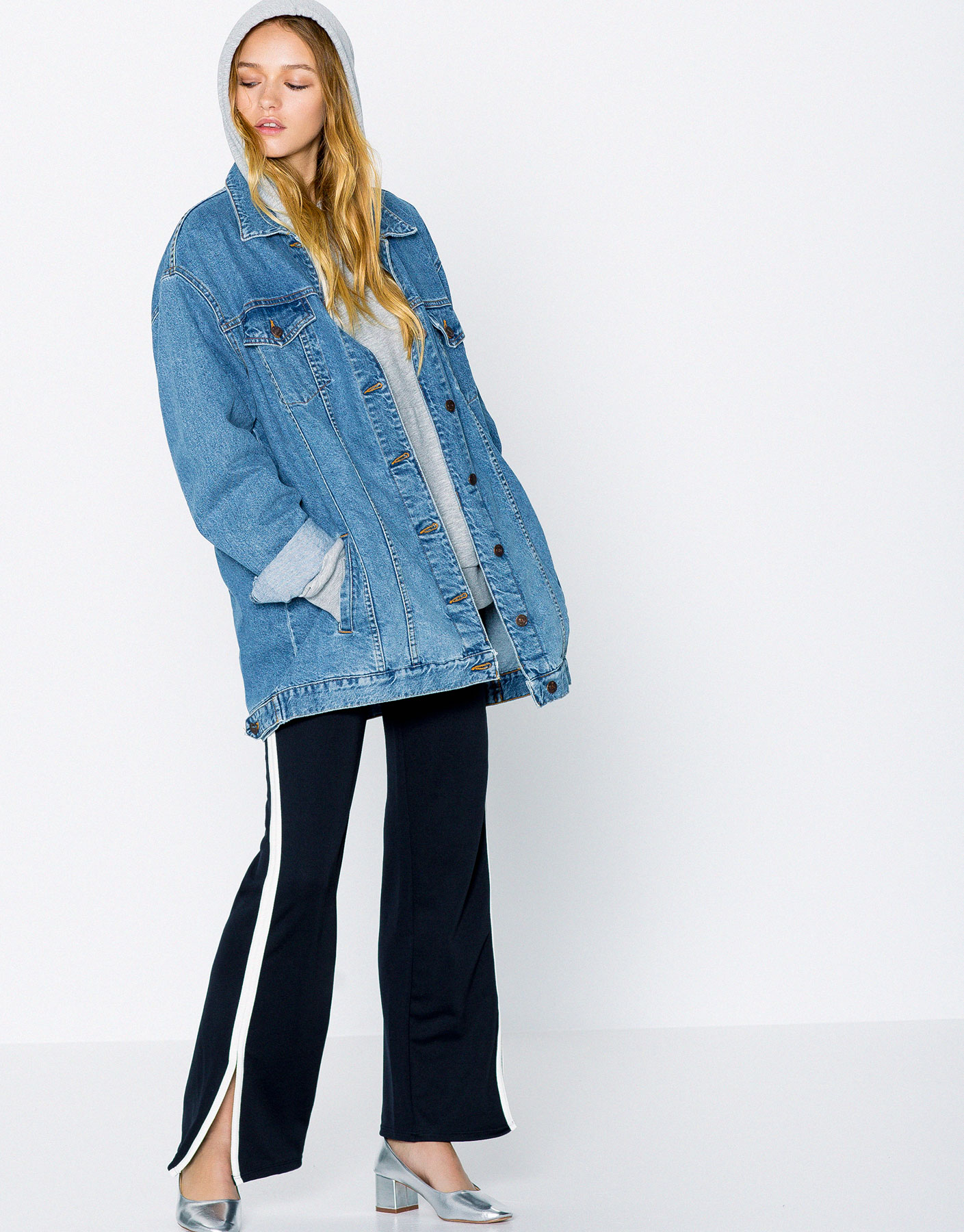 Long fit denim jacket