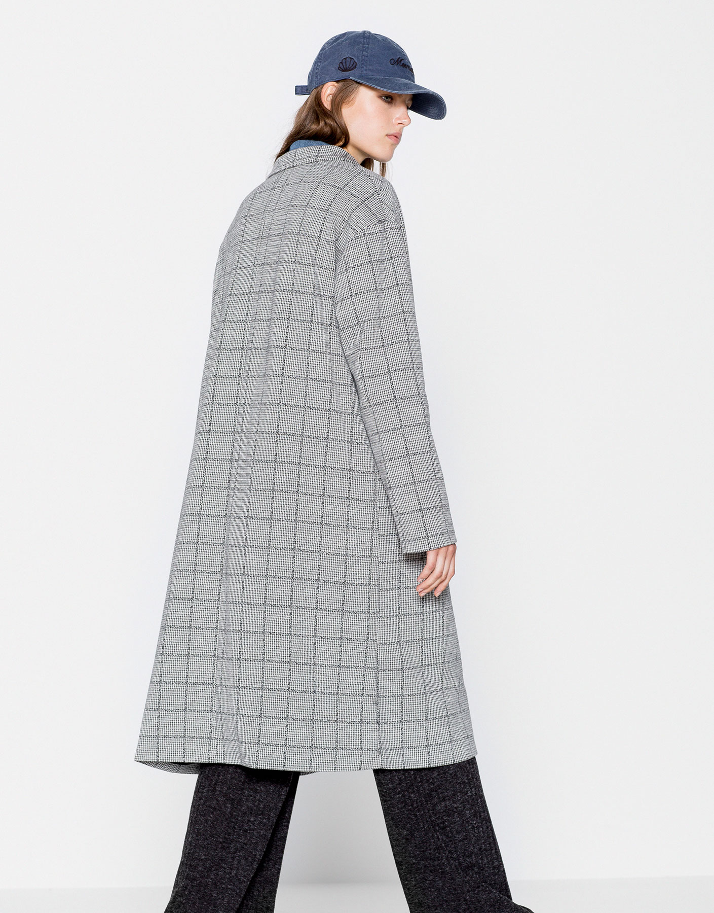 Long checked coat