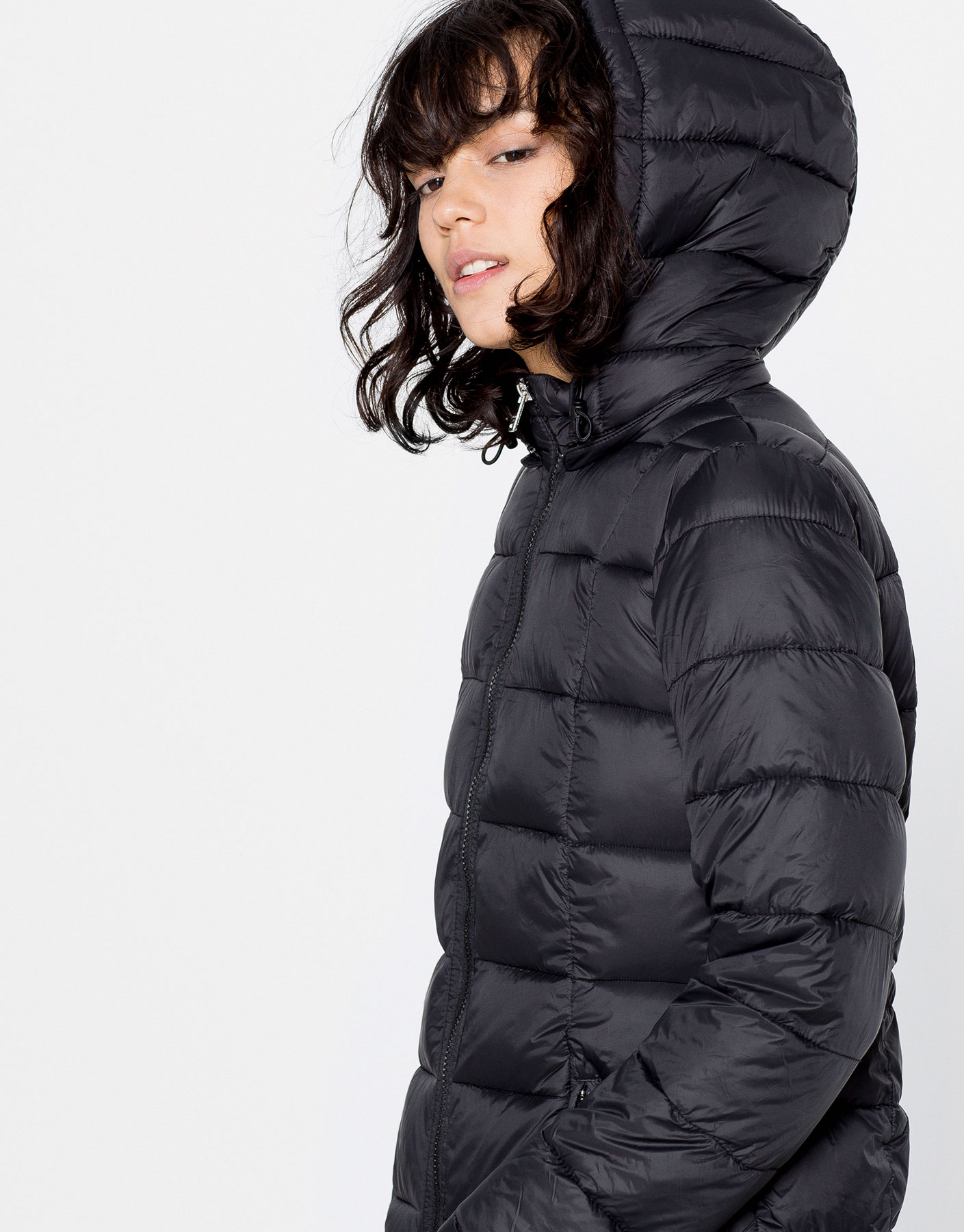 Long quilted nylon coat