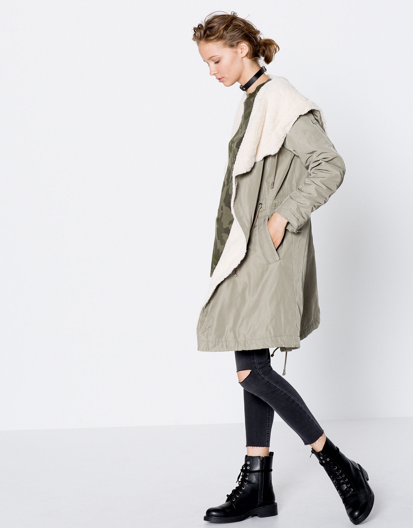 Parka with faux fur interior